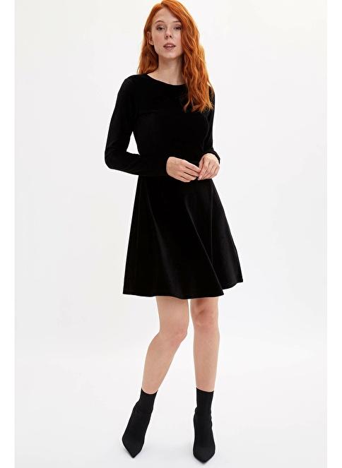 DeFacto Slim Fit Uzun Kollu Elbise Siyah